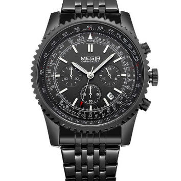 Megir Quartz Tachymeter (Black Steel)