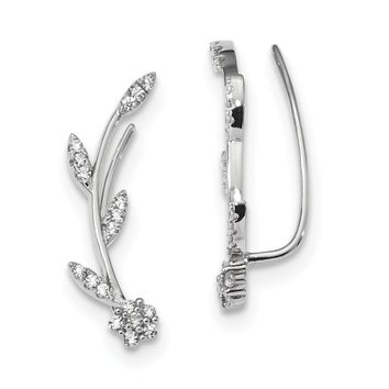 Sterling Silver CZ Flower and Stem Climber Earrings