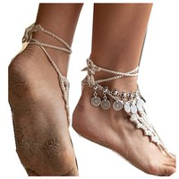Wiipu Silver Coin Anklet Handmade Floral Gypsy Tribal Festival Jewelry Turkish Bohemia