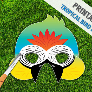 Tropical Bird Mask | Macaw Mask | Jungle Bird Printable Mask