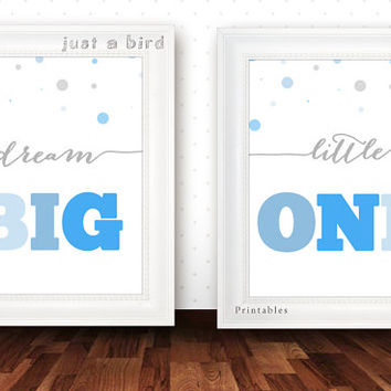 Baby boy nursery decor set,Dream big little one quote, blue grey nursery room, blue shades nursery, boys room decor INSTANT DOWNLOAD