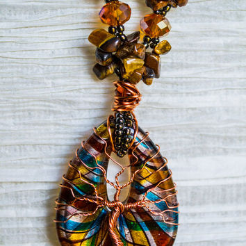Tree of Life copper wire wrapped Glass Fused pendant