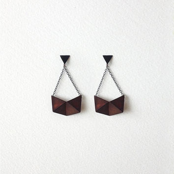 Geometric Dangle Earrings, Oxidized Copper Geometric Earrings, Statement Dangle Earrings