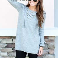 Cross It Up Sweater - Grey