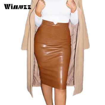Wimuzz Women Winter Faux Leather Skirt High Waist Midi Pencil Skirt For Christmas Party Sexy PU Bodycon Skirts