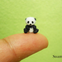 Micro Panda Bear 04 Inch  Made To Order by SuAmi on Etsy