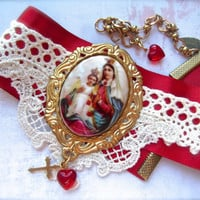 Mary and Jesus, Red & White Choker, Handmade Lace, Lace Choker, Satin Choker, Satin and Lace, Religious Choker, Mary Baby Jesus, Christian