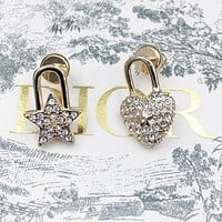 Dior New fashion diamond love heart star earring women Golden