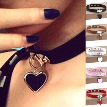 Hot Anime rock Harajuku punk gothic heart pendant necklace statement leather necklace leather collar choker necklace bracelet