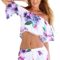 Two-piece Off Shoulder Floral Printed Strapless Playsuits