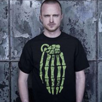 Breaking Bad Aaron Paul Jesse Pinkman Skeleton Grenade Hand T Shirts S-5XL in Black or White Tees Free Shipping USA and Canada