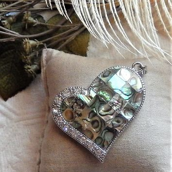 Large 18K White Gold Plated Abalone Crystal Falling Heart Pendant