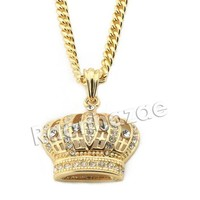 ONETOW Mens Iced Out Brass Bling King Crown Pendant w/ 5mm 24' 30' Cuban Chain A02