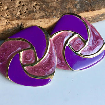 Vintage Enamel Earrings, Purple Enamel, Gold Earrings, Post Earrings, 80's Earrings, 1980's Earrings, Triangular Earrings, Etsy