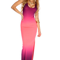 Coral Purple Ombre Sleeveless Sexy Maxi Dress