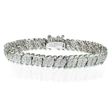 Natural Diamond Accent Marquise S Tennis Bracelet in Brass