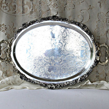 Antique Ornate Silverplate Tray Footed Bristol Poole Silver #7316 , Vintage Silver Tray with Handles