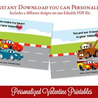 Cars Valentines, DIY Printable Valentine, Printable Valentine's Day Card, Race Car Valentine, Kids Valentines, Edit Text with Adobe Reader