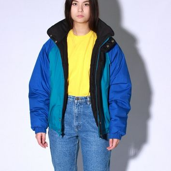 Blue Puffer Parka Jacket / L XL