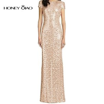Honey Qiao Bridesmaid Dresses Rose Gold Sequins Mermaid Short Sleeves High Back 2017 Champagne Burgundy Maid of Honor Gowns