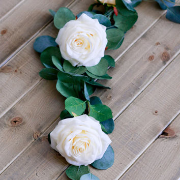 Silk Eucalyptus Branches with Ivory Roses Wedding Centerpiece
