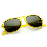 Trendy Retro Fashion Matte Keyhole Square Aviator Sunglasses 9177