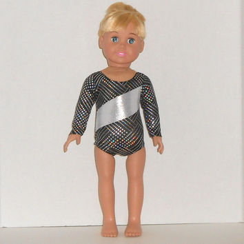 American Girl Doll Clothes Silver and Black Leotard Gymnastics/Dance Competition fits 18 inch Dolls