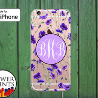Lavender Floral Flower Pattern Monogram Vintage Clear Rubber Case for iPhone 5/5s and 5c and iPhone 6 and 6 Plus + and iPhone 6s iPhone SE
