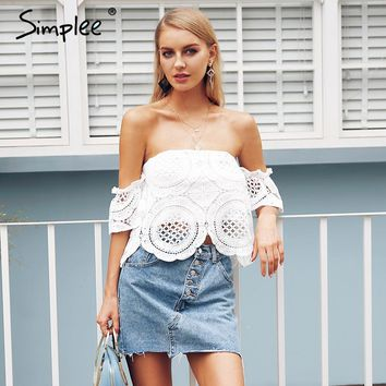 Simplee Off shoulder lace crop top women Hollow out white blouse shirt 2018 Elegant flare sleeve camis summer beach tank