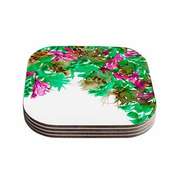 "Ebi Emporium ""Floral Cascade 6"" Pink Green Coasters (Set of 4)"