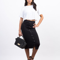 Zipper Ribbed Midi Skirt