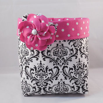 Pretty Black and White Damask Fabric Basket With Pink Polka Dot Liner and Detachable Fabric Flower Pin For Storage Or Gift Giving