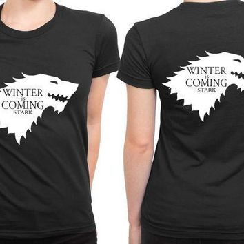 ESBH9S Winter Is Coming Game Of Thrones 2 Sided Womens T Shirt