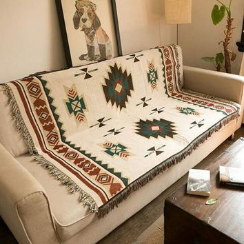 Geometric Patterned Cotton Woven Throw Blanket Rug Aztec Navajo Sofa Towel Mat Wall Hanging Tapestry