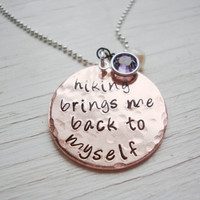 Hiking hand stamped copper necklace with freshwater pearl and crystal