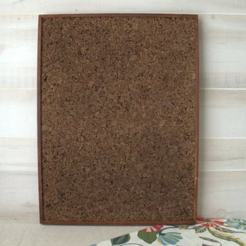 Old Framed Cork Board,  Retro Message Board, 1960s Large Brown Cork Bulletin Board