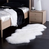 Double Australian Sheepskin Rug in Natural - 2 Pelts - 6' x 2'