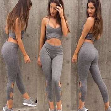 Casual Women's Fashion Gym Hollow Out Sportswear Set [9629468109]