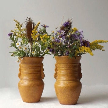 ON SALE - Vintage Pottery Vases, Set of 2, Mustard Yellow Rustic Primitive or Farmhouse Decor