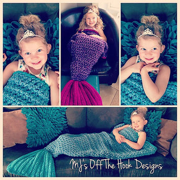 Christmas Wool Knitted Handmade Children Sleeping Mermaid Tail Blanket [9582254223]