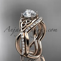 "14kt rose gold celtic trinity knot engagement set, wedding ring with a ""Forever Brilliant"" Moissanite center stone CT790S"