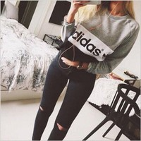 "Gray ""Adidas"" Letter Winter Long Long Sleeve Sweater"