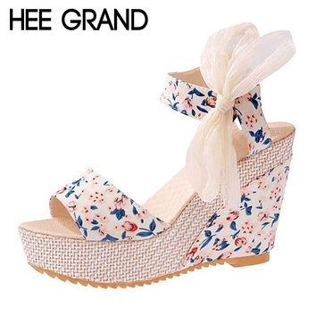 HEE GRAND Floral Wedges Sandals Summer Platform Gladiator Sandals 2017 NEW Shoes Woman Casual Ankle Strap High Heels XWZ2019