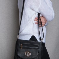 Lucky 21 Faux Leather Crossbody Purse With Emblem & Outer Pocket  - Black