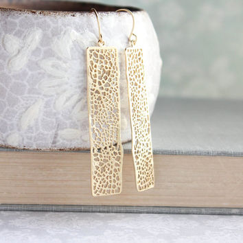 Unique Gold Earrings Long Lace Filigree Modern Dangle Gold Womens Jewelry Bridesmaids Gift For Girlfriend Minimalist Geometric Nickel free