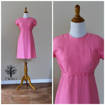 Vintage 60s Emma Domb Mod Pink Dress// Pink Party Dress// Mad Men Jackie O Dress// Prom Wedding Date Cocktail Dress