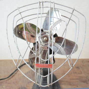 Vintage Dominion Desk Fan, Rare  Model 900 Metal Fan,  WWII Era V Shaped Fan, Working 1930's Retro Steampunk
