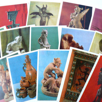 Set of 15 postcards, photo of devils, evil spirits sculptures photography