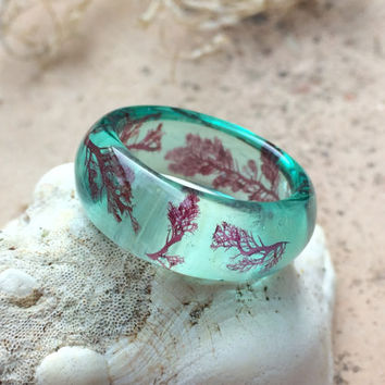Thick Teal Sea Life Ring. Ocean Resin Ring. Mermaid Jewelry. Thumb Ring