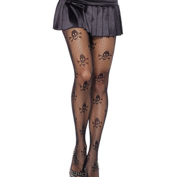 New Pantyhose Women Fishnet Tights Skull Print  Seamless Sexy Sheer Stockings Tight Female Collant Pantyhose Black